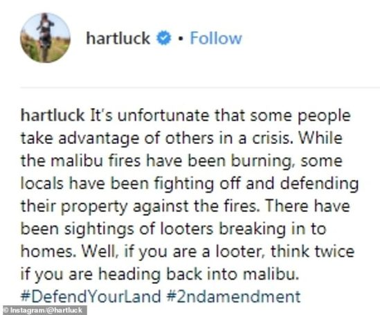 The former professional freestyle motocross competitor's Instagram warning is shown in full