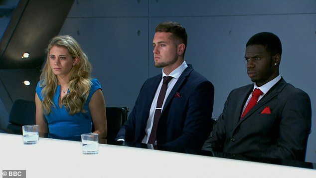In the firing line:Kayode faced Lord Sugar with Sabrina and Tom on Wednesday evening