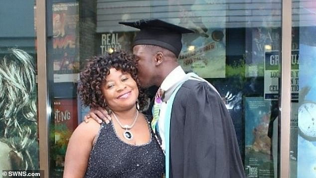 Reggie Nelson, now 22, with his mother, on the day he graduated from Kingston University in 2017 with a 2:1.He had similarly mixed tidings when he started to knock on doors. 'Some people just told me to go away, although I spoke to one lady who also said I should focus on my education.'