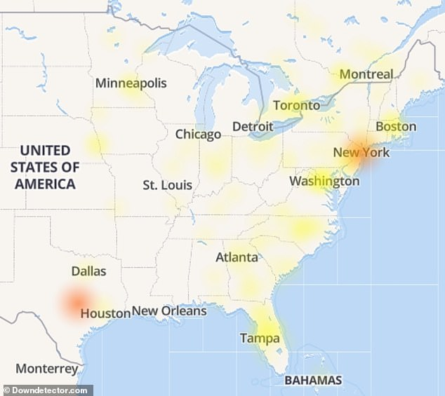 In the US Facebook users in New York, Washington, Minneapolis and Houston reported the most problems