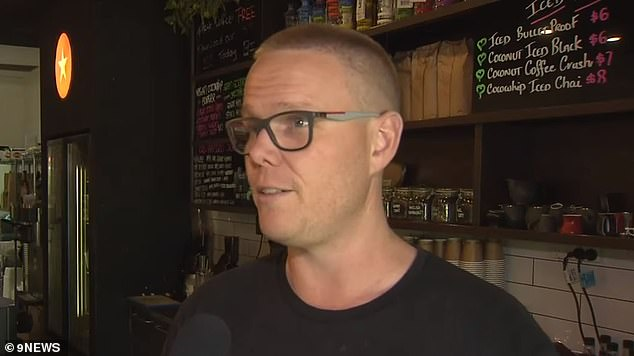 Cafe owner Peter Dufty (pictured) told Daily Mail Australia the tradesman played the role of the wronged customer extremely well