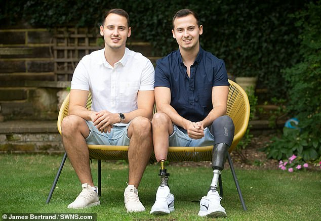 Brother Beyond: James Bertrand (right) photographed with twin brother Tom in July 2018
