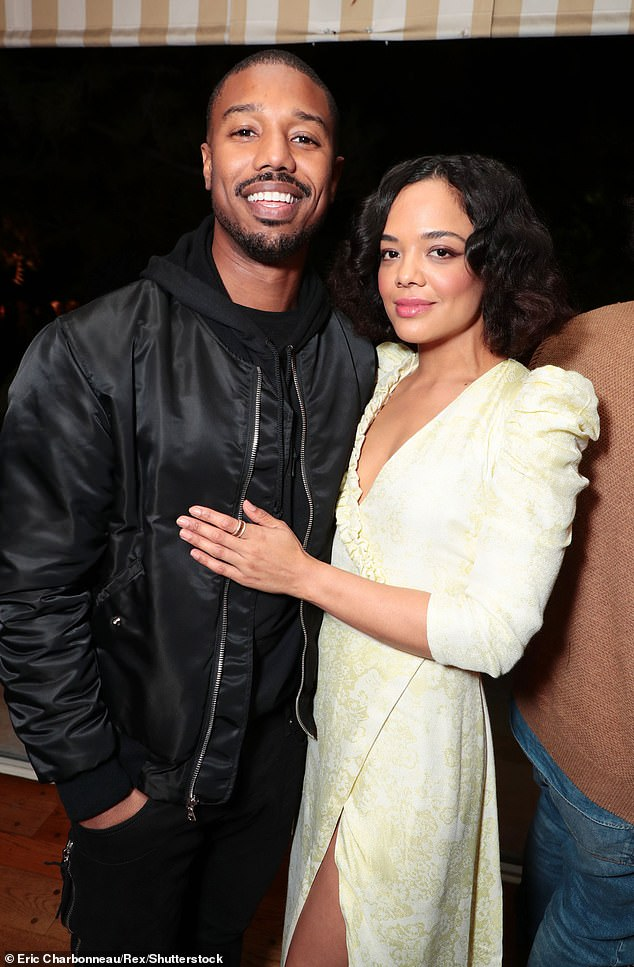 Hangry man!Tessa Thompson says Michael B Jordan got 'really angry' when he was hungry on the set of Creed II; the two are seen at a screening on November 19