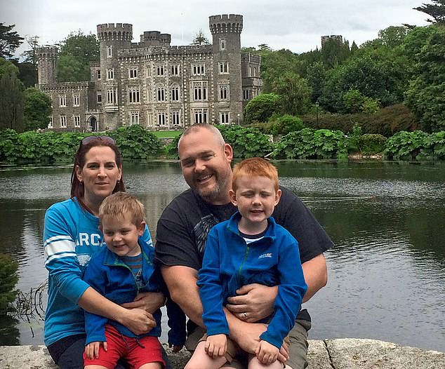 Support: Gavin Knocker, with his late wife Avril and their children Joel and Ewen, was able to claim on an income protection policy