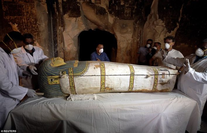 Archaeologists remove the cover of an intact sarcophagus inside the tomb TT33.El-Enany described the newly discovered intact sarcophagus inside the tomb as magnificent. It is carved in wood with eyes inlaid with golden sheets