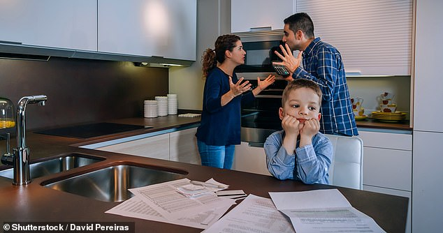 Dr Waters said previous studies showed children were good at picking up 'emotional residue' from their parents. She said it was better to let kids see 'healthy conflict' from start to resolution than suppress their feelings (stock)