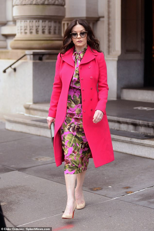 Catherine Zeta Jones Dons Hot Pink Coat As She Steps Out