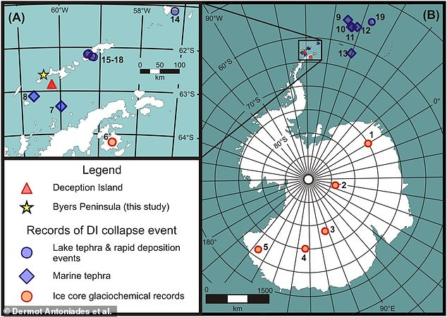 When the magna chamber emptied, the sudden pressure drop and resulting collapse spurred a seismic event that was recorded in sediments at the bottom of 4 lakes in Antarctica's Byers Peninsula (yellow star in map above)