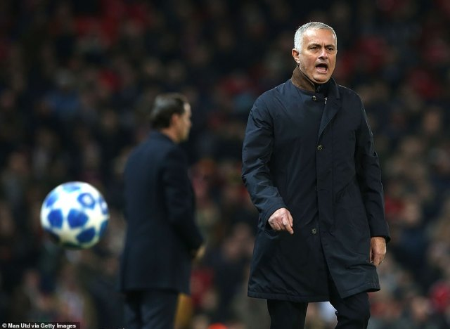 United boss Jose Mourinho barks out instructions to his players during the early stages of the Champions League clash