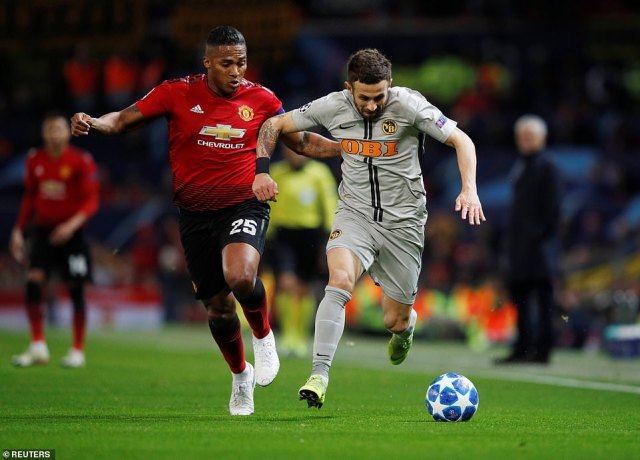 Manchester United captain Antonio Valencia returned to the starting XI for the first time since October 2 against Young Boys