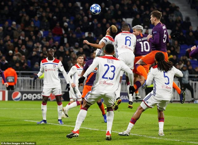 The Argentine striker heads home in the 83rd minute to seal City's progress to the knockout stages of the competition