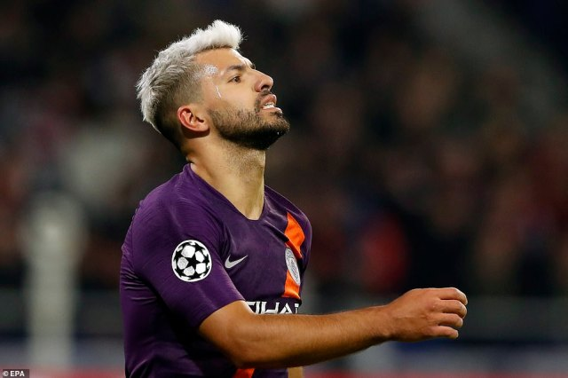 City's all-time record goalscorer Aguero reacts during the Champions League Group F match on Tuesday night