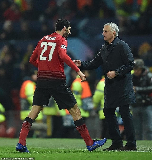 The Belgian international ran straight for the touchline after netting in stoppage time, seeking out the United boss Mourinho