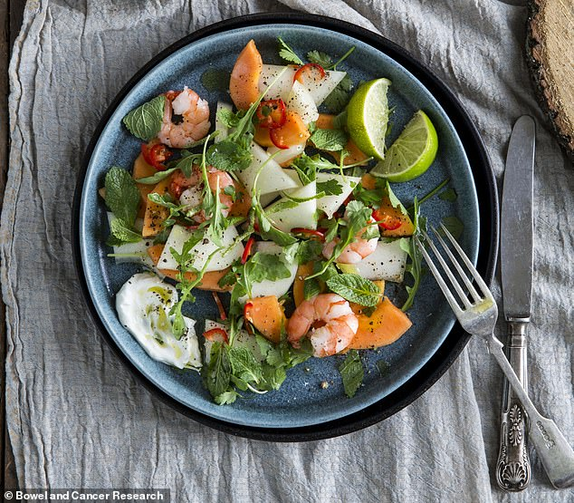 Fresh and healthy: Thismelon and king prawn starter makes the perfect appetiser for any meal
