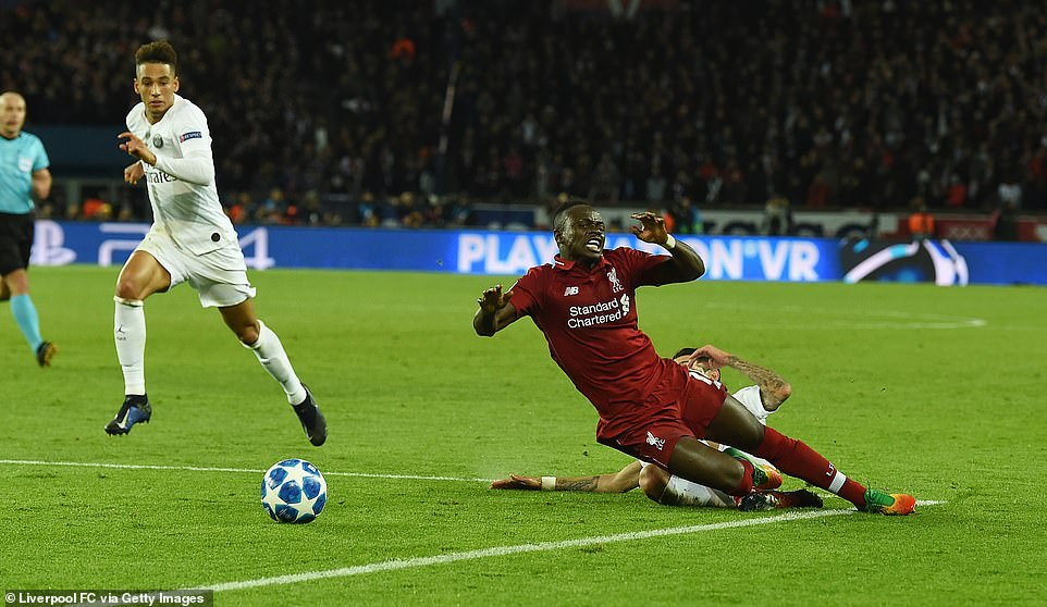 Liverpool won a penalty when Mane was carelessly scythed down by PSG's Angel di Maria inside the penalty area