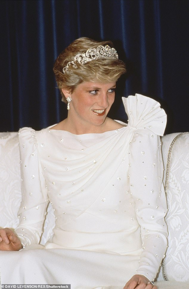 El vestido fue usado por Diana durante su gira por los Estados del Golfo, cuando ella y el Príncipe Carlos asistieron a un banquete organizado por el Emir de Bahrein