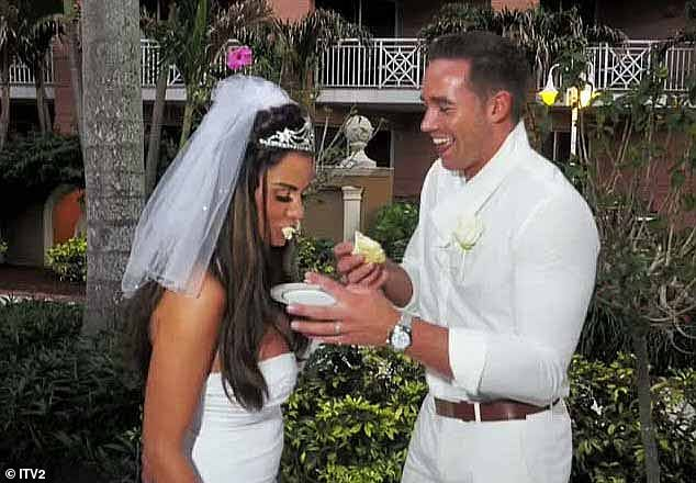 Third time lucky:Katie went in to marry former male stripper Kieran Hayler at the Sandals Royal Bahamian Resort and Spa in the Bahamas after accepting his proposal on Christmas Day the previous year