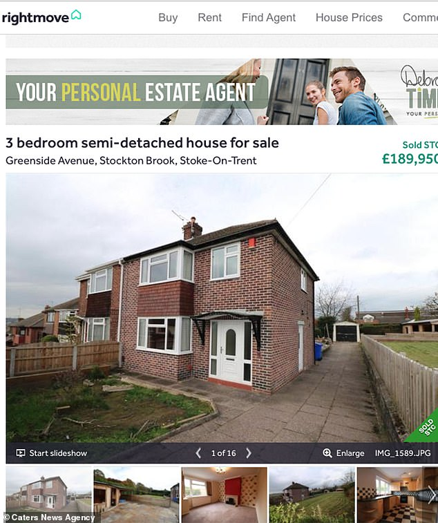 Samantha was discovered on wasteland in rural Caverswall outside Stoke, Staffs, eight days after being reported missing. Pictured is the advert for the home on Rightmove