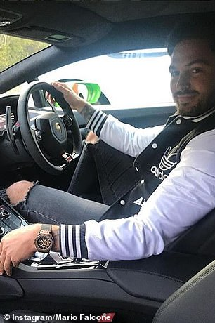 Falcone at the wheel of his supercar