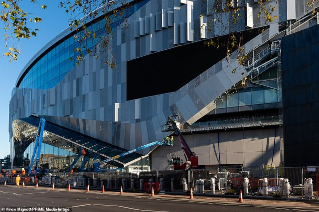 This picture shows thecurrent state of outside building work on the Tottenham's state-of-the-art stadium