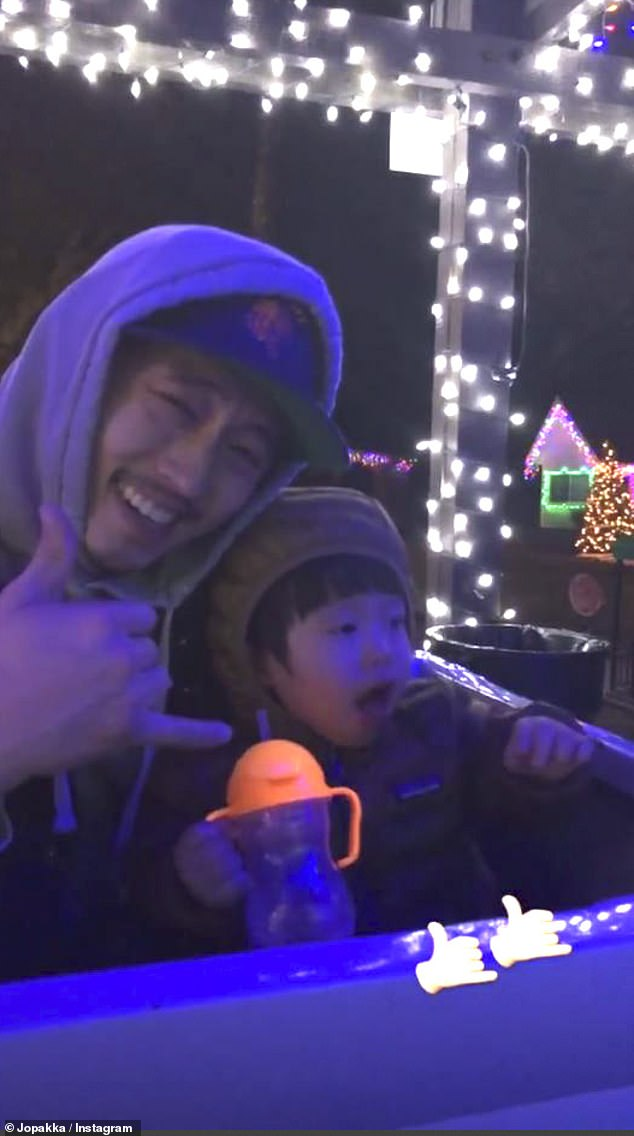 Father and son: On Tuesday, Joana shared a sweet clip of Steven with their son Jude while sitting in their backyard
