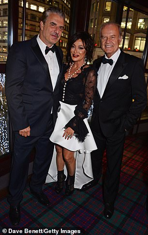 Chris Noth (left), Nancy Dell'Olio (centre) and Kelsey Grammer (right) attend The Vina Carmen Cigar Smoker Of The Year Awards 2018 founded by Boisdale at Boisdale of Canary Wharf