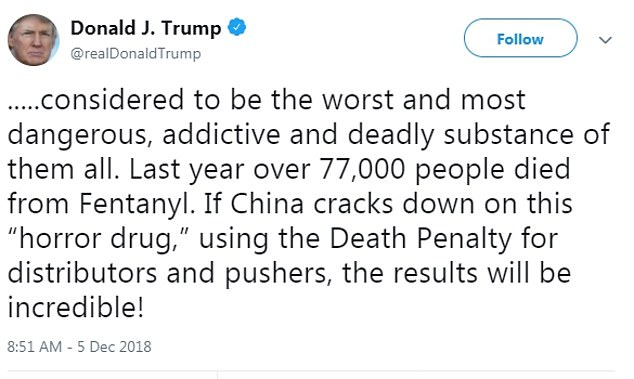 Trump announced China's agreement on fentanyl, which has led to an increase in drug-related deaths in the US