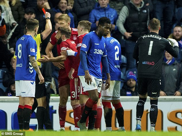 Aberdeen was also reduced to 10 men when Sam Cosgrove was expelled from the referee