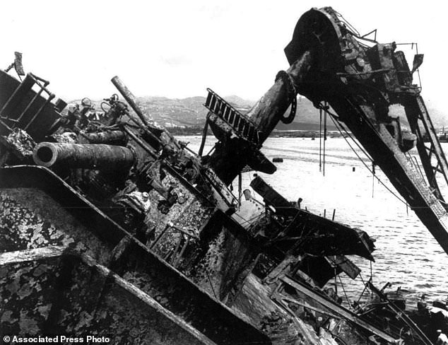 May 24, 1943, the capsized battleship USS Oklahoma was lifted out of the water at Pearl Harbor in Honolulu, Hawaii