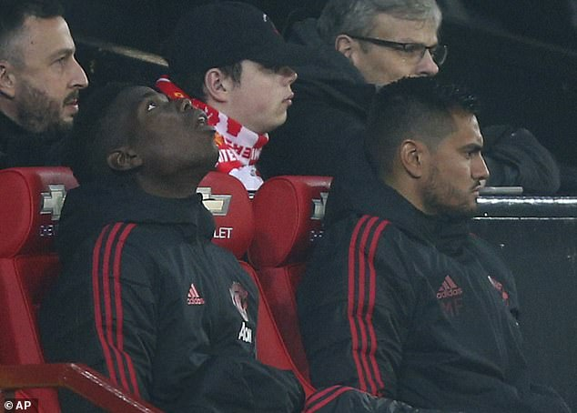 Unhappy Paul Pogba sat on the bench for the most of Manchester United's 2-2 draw with Arsenal