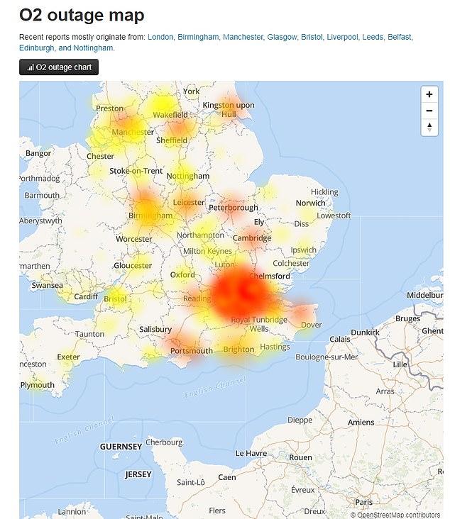 Des plaintes sont toujours déposées dans tout le pays, de la côte sud au nord, bien que O2 ait affirmé que le problème avait été résolu.