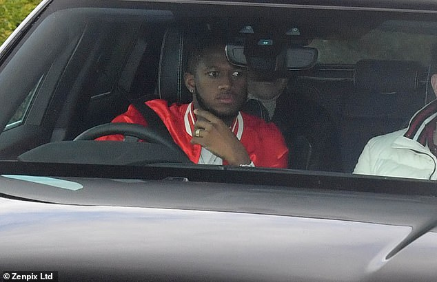 Midfielder Fred arrives at Manchester United's Carrington training ground on Friday morning