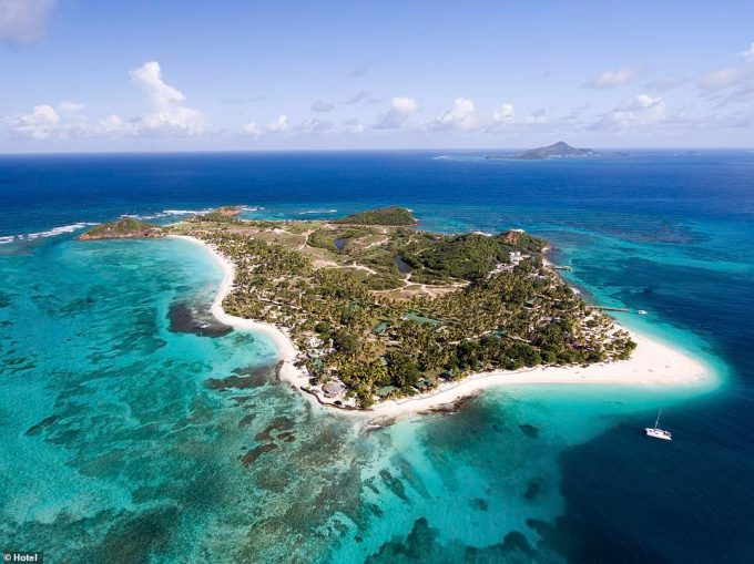 Paradise: Palm Island (pictured) is a tiny private island just off Union Island in the Grenadines