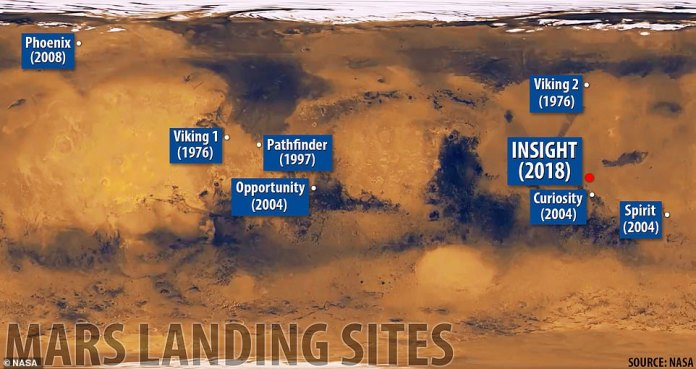 InSight landed in a region known as Elysium Planitia. The location of the map is not far from the landing site of Curiosity Mission 2012, the last NASA spacecraft to land on Mars