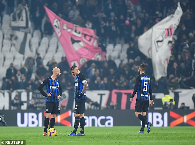 Inter, whose players seemed disheartened after being left behind, are now 14 points behind leaders Juve