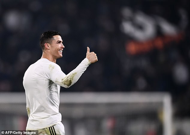 Juventus star Cristiano Ronaldo smiled as he waved at the end of the evening