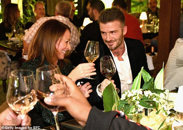 Giggles: The dinner looked to be a hit as the guests beamed while at the event