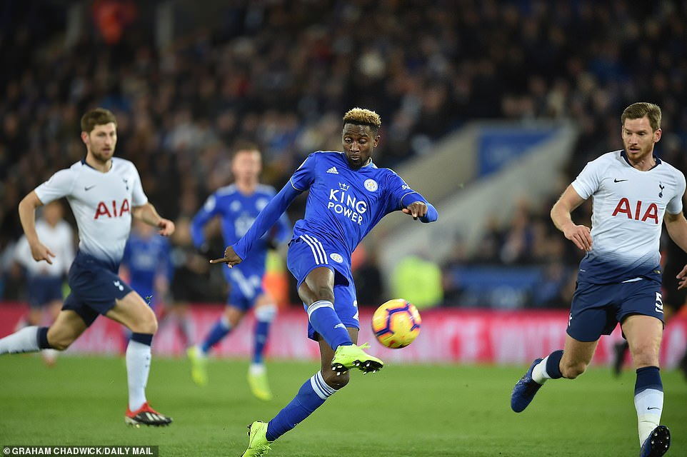 Wilfried Ndidi unleashes a powerful shot from long range but failed to trouble Hugo Lloris in goal