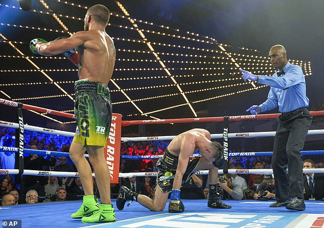 Pedraza is down on one knee as Lomachenko presses home his supremacy in the 11th round