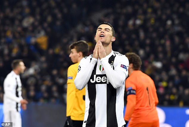 The Juventus forward can't hide his frustration after missing a chance in the first-half