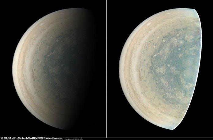 Die Version des Bildes auf der linken Seite zeigt Jupiter in ungefährer Echtfarbe, während dasselbe Bild auf der rechten Seite verarbeitet wurde, um Details hervorzuheben. Um seine riskante Mission zu vollenden, überlebte Juno einen durch das starke Magnetfeld von Jupiter erzeugten frittierenden Strahlungssturm