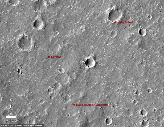 NASA has confirmed the landing sites of InSight, its parachute and other components thanks to the new images of the Mars Reconnaissance Orbiter