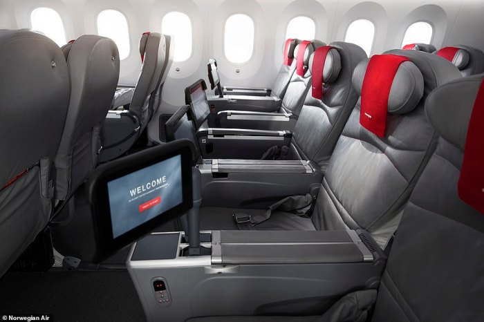 There are 56 seats aboard Norwegian's premium cabin and they offer more than a metre of legroom