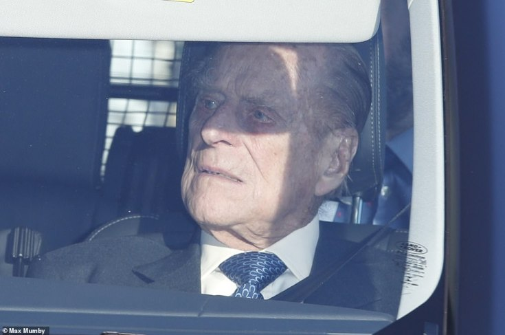 Annual gathering: Prince Philip, 97, was smart in a patterned blue tie as he made the journey to Buckingham Palace