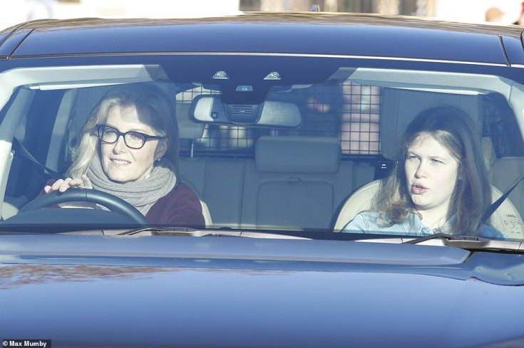 Mother-daughter time: Lady Louise Windsor, 15, rode in the front seat of the car with Sophie Wessex as the family arrived