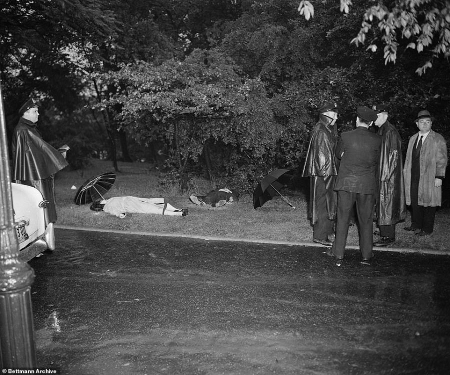 This scene shows a double murder in Central Park at 106th Street East. A forty-five caliber pistol was found nearby