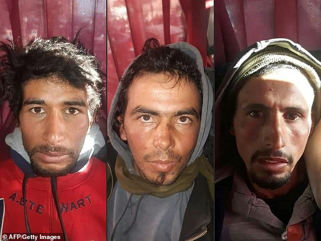 Rachid Afatti (left), Ouziad Younes (centre), and Ejjoud Abdessamad (right), the three suspects in the gruesome murder of two Scandinavian hikers