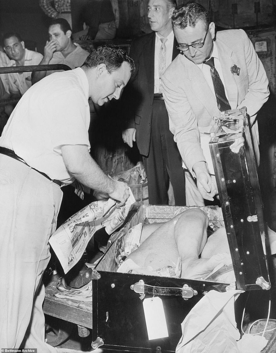 Suitcase killing: This eerie shot shows detectives examining a body in a suitcase. Officers are not even wearing gloves as they handle the evidence