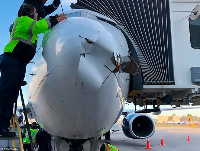 Mechanics were forced to remove seconds of the aircraft's nose cone which was damaged shortly before landing