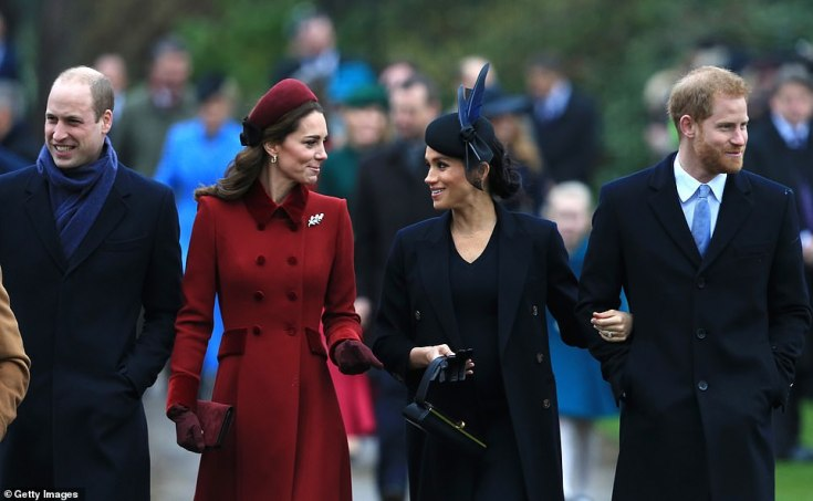 Kate and Meghan chatted to one another as they walked to the church this morning, alongside husbands Prince Harry and Prince William